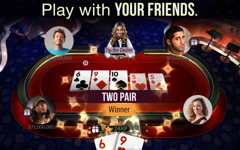 Live virtual poker with friends