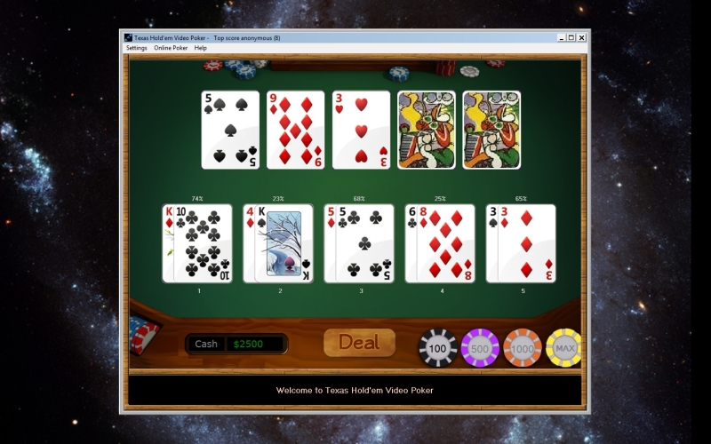 Texas Hold'em Video Poker - Single player Texas Hold'em game.